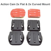 Jual Action Cam 2x Flat & 2x Curved Mounts w/ Tapes for Xiaomi Yi & GoPro Murah