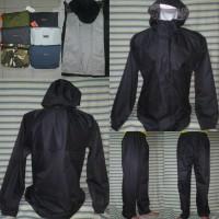 Jaket Raincoat Jas Hujan DMM Hitam Taslan Waterproof 100%+++