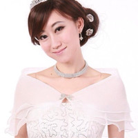 WHITE PARTY GOWN DRESS COVER Bolero Tingkat Baju Gain Pesta PUTIH