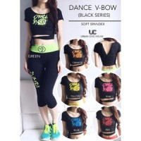 Baju Olahraga / Baju Aerobik/zumba / Dance V-Bow Set