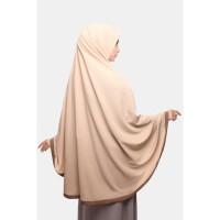 Zelena Jilbab Khimar Amora List - Coklat Muda