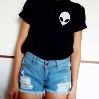 Kaos Tumblr Tee White Head Alien Top Fashion Atasan Baju