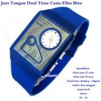 jam tangan murah unisex Casio Film Watch Dual Time biru