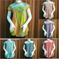 blouse batik katun halus kombinasi brokat ll harga murah