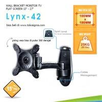 WALL BRACKET SINGLE ARM FULL MOTION LYNX 42 for FLAT TV 13 - 27 in