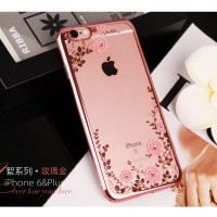 Jual Case Iphone 7/ 7plus/ 7+ Casing Silicon Soft Flower Bling Diamond Murah