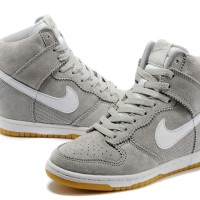 Sneakers Wedges Nike Sky High Dunk Suede Grey/White