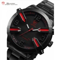 Shark Sport Watch Auto Day Alarm LED Black Red Stainless Steel