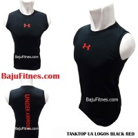 Jual Kaos Fitness - TANKTOP UA LOGOS BLACK RED GROSS DRY Murah