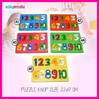 Puzzle Knop Angka - Mainan Edukasi Edukatif Anak Kayu Mdf Bentuk Warna