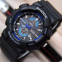 EXCLUSIVE JAM TANGAN PRIA TAJIMA SHOCK ANTI AIR BLACK COVER SET.LINGKA