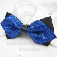 Jual dasi kupu diamond bahan import gliter series warna biru Murah