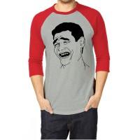 T-Shirt Raglan yao ming - merah abu