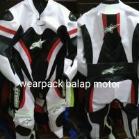 harga wearpack balap roadrace hitam putih Tokopedia.com