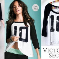 harga Kaos Branded Murah LBBL1734 Victoria Secret BW Num10 Baseball Tee Tokopedia.com