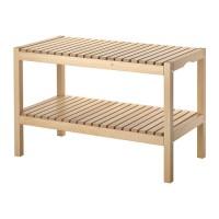 IKEA MOLGER Bangku kamar mandi 79x37x50 cm, kayu birch