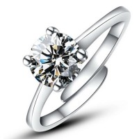 Cincin Diamond Zirconia, Tunangan, Ukuran Flexibel,Platinum plated