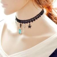 Kalung choker clover, star, blue, gemstone 70222
