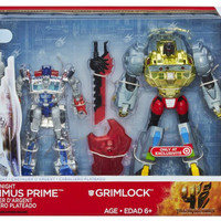 Silver Knight Optimus Prime & Grimlock Classic Voyager class 2 pack -