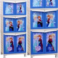 harga Lemari Plastik Pakaian Baju Anak Napolly 3 Susun Frozen Biru Salju Tokopedia.com