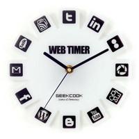 Unik Web 2.0 Timer Wall Clock # Jam Dinding - White rumah kantor gedun