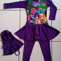 Jual RNKD28 - Baju Renang Anak Muslim Little Pony (Ukuran XXL) Murah Murah