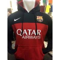 Sweater Hoodie Bola Barcelona B-321 Jumper Barca Hitam Merah Kombinasi
