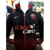 Jaket Hoodie AS Roma O-721 Gradasi Merah Resleting Tifosi Roma
