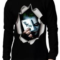 Kaos 3D Elengant Murah Joker Bat Lengan Panjang Hitam Kuning Merah