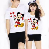 Jual Kaos Couple / Baju Pasangan / Soulmate Santa Mickey Natal 10484 Murah