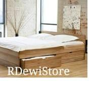 Tempat tidur, dipan, ranjang, minimalis kayu jati polos 160x200 laci