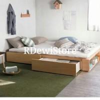 Tempat tidur, dipan, ranjang, minimalis kayu jati polos lesehan laci