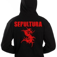 Hoodie Zipper depan/belakang logo band Sepultura Hitam