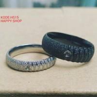 cincin pasangan tunangan unik bahan titanium anti karat/free ukir,box