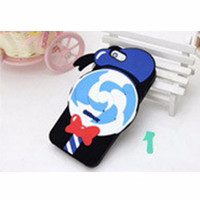 Cute Ice Cream Cartoon TPU Case for iPhone 5/5s/SE - Black/Blue PALIN