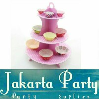Stand Cake Pink Polkadot / Standing Cup Cake 3 Tier Pink Polkadot