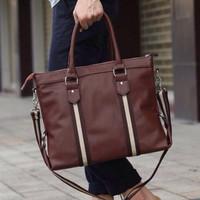 Jual Tas Kulit Import Messenger Bag Pria Wanita Stripe ET-030 Murah