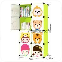 Lemari Plastik Serbaguna Portable Anak Bayi Rak Baju 2-8-6K-1H