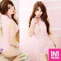 Lingerie 0016 Cheongsam Cream Set Murah Seksi Sexy