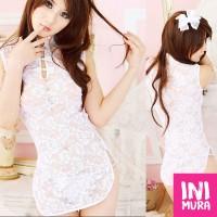 Lingerie 0014 Cheongsam White Putih Set Murah Seksi Sexy