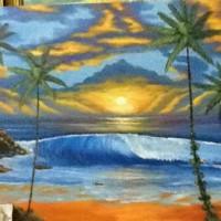 Lukisan Pemandangan 60x80 Lukisan Matahari View laut & Gunung