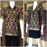 HOT setelan sarimbit batik blus BSB114hitam hobi outdoor adventure wil