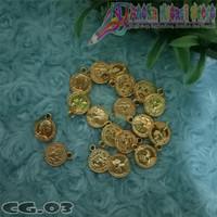 CG03 - Charm Koin Gambar Timbul Kuning Emas Non Metal ( Perlusin )