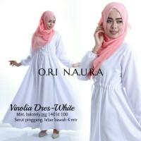 baju muslim gamis dress putih polos baloteli vinolia ekslusif