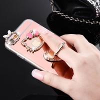 Jual Oppo F1s Mirror TPU Diamond Hello Kitty Case with Stand Holder Murah
