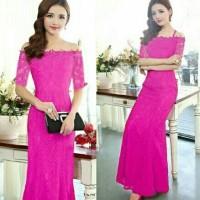 Longdress sabrina pink-dress brukat online-gaun pesta murah-SR