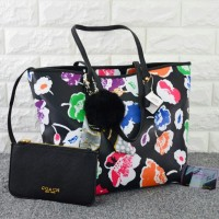 Tas Coach City Tote Floral Set HITAM RAINBOW Semi Premium 1688