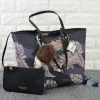 Tas Coach City Tote Floral Set HITAM Semi Premium 1688