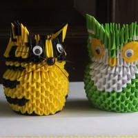 tempat pinsil binatang 3d origami