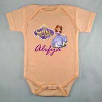 Baju Bayi Custom Baby Jumper Sofia Peach -Tulisan Bebas